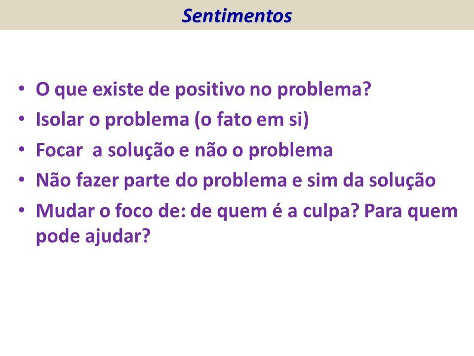 Sentimentos O que existe de positivo no problema Isolar o problema (o fato em si) Focar a solução e não o problema.
