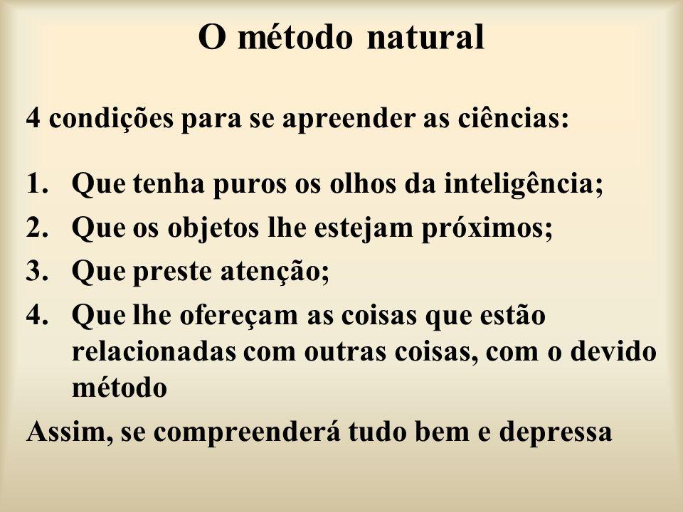 O método natural 4 condições para se apreender as ciências: