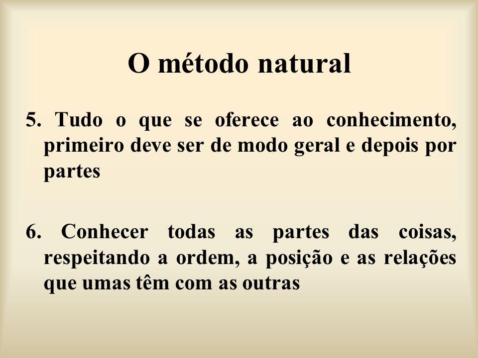 O método natural 5. Tudo o que se oferece ao conhecimento, primeiro deve ser de modo geral e depois por partes.
