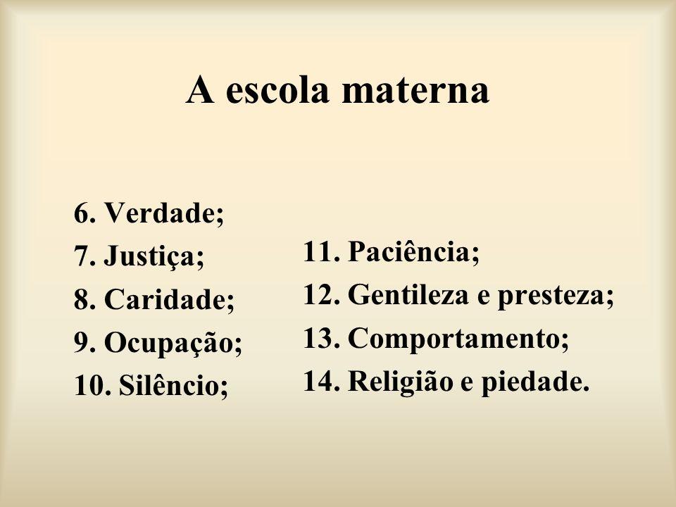 A escola materna 6. Verdade; 11. Paciência; 7. Justiça;