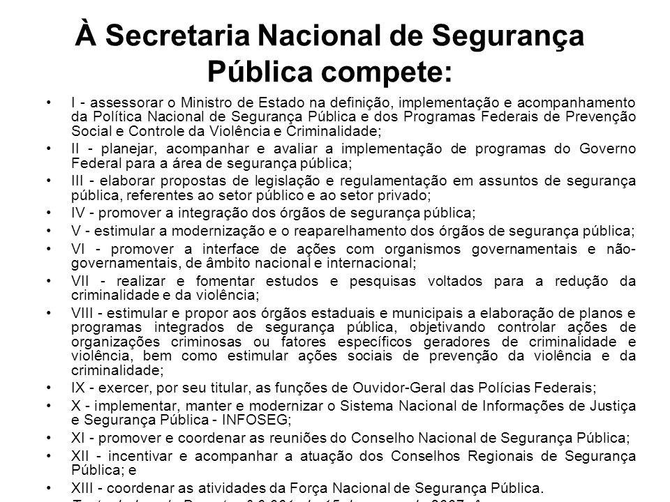 À Secretaria Nacional de Segurança Pública compete: