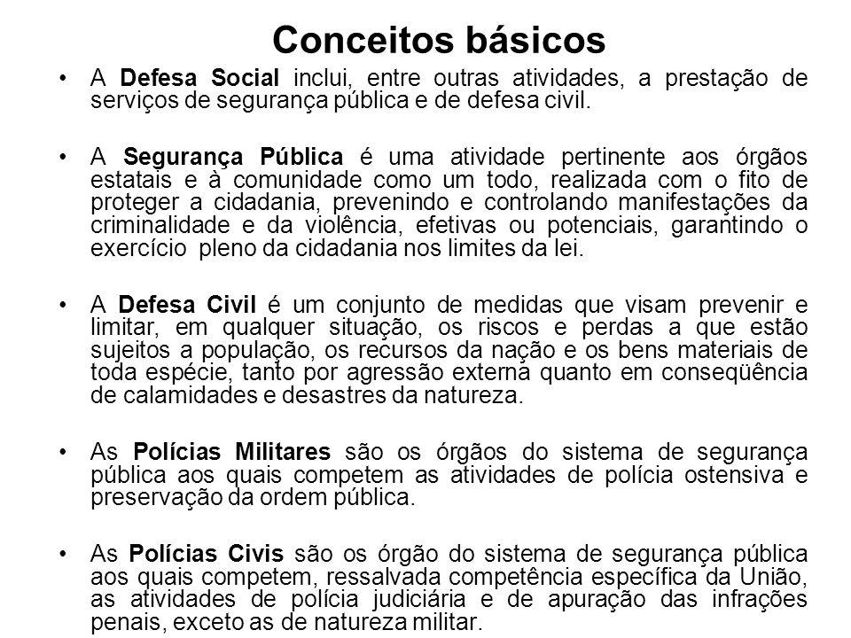 Conceitos básicosA Defesa Social inclui, entre outras atividades, a prestação de serviços de segurança pública e de defesa civil.