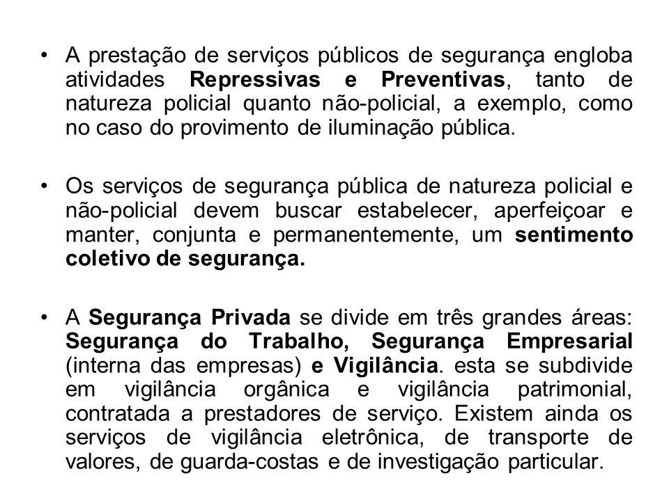 A prestação de serviços públicos de segurança engloba atividades Repressivas e Preventivas, tanto de natureza policial quanto não-policial, a exemplo, como no caso do provimento de iluminação pública.