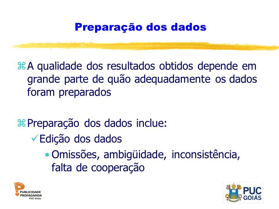 Preparação dos dados A qualidade dos resultados obtidos depende em grande parte de quão adequadamente os dados foram preparados.