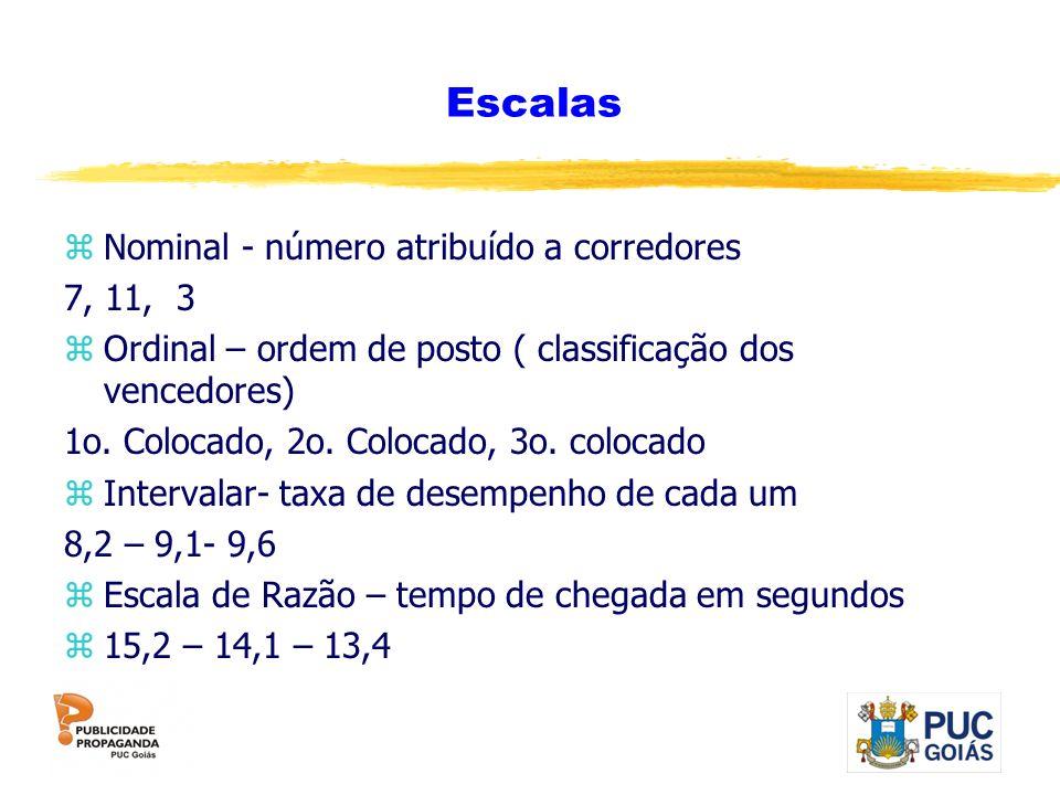 Escalas Nominal - número atribuído a corredores 7, 11, 3
