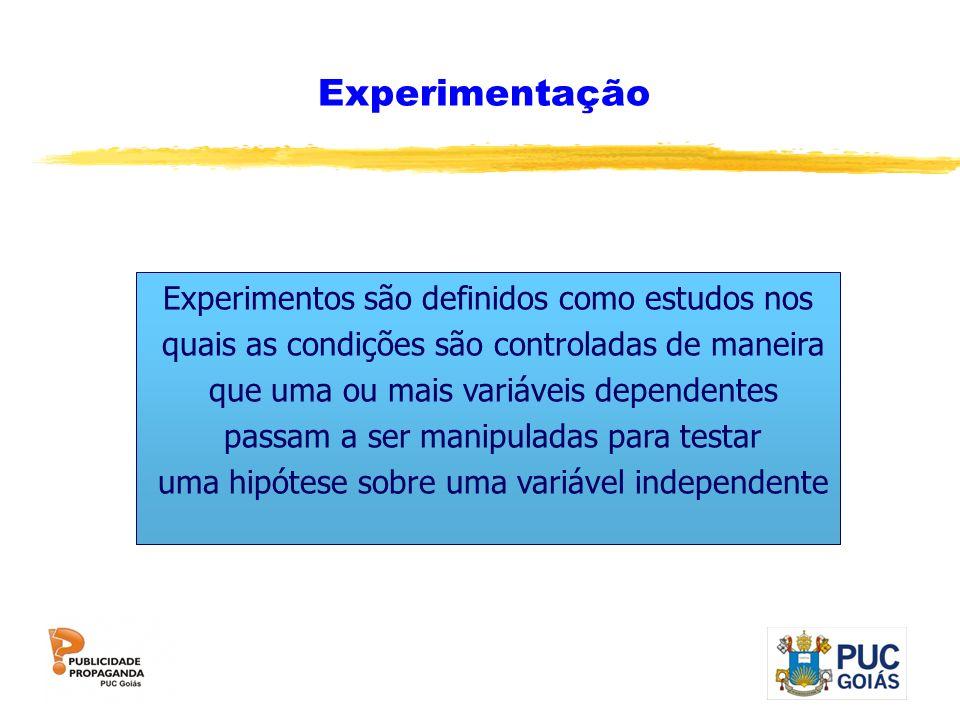 Experimentação Experimentos são definidos como estudos nos