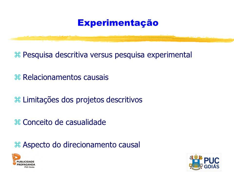 Experimentação Pesquisa descritiva versus pesquisa experimental