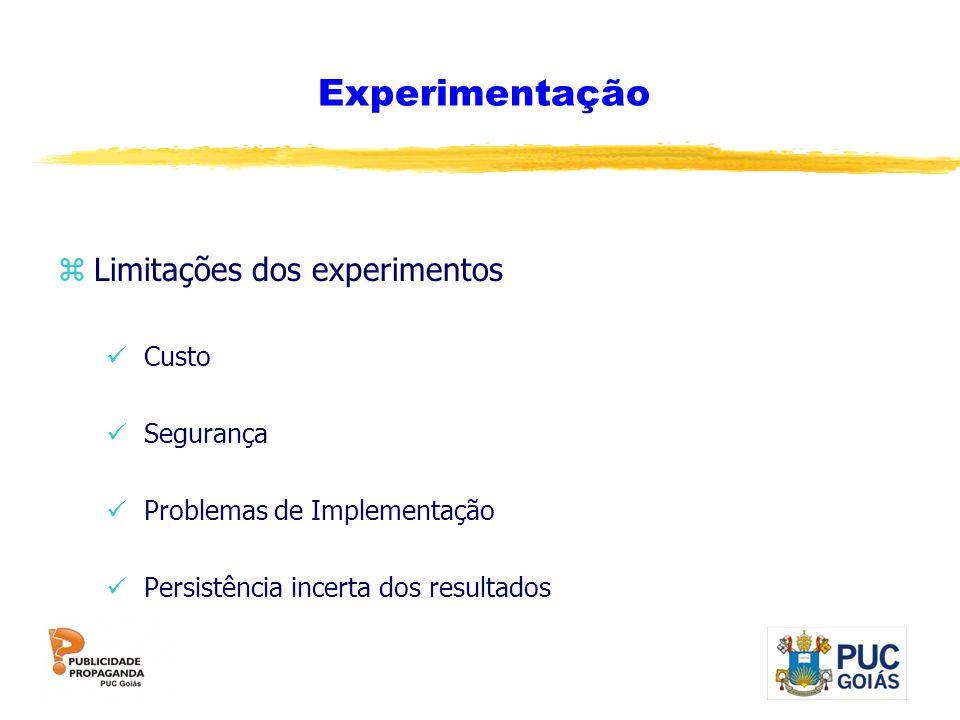 Experimentação Limitações dos experimentos Custo Segurança