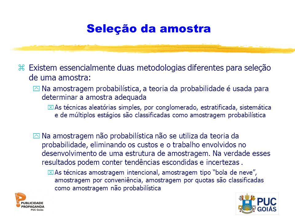 Seleção da amostra Existem essencialmente duas metodologias diferentes para seleção de uma amostra: