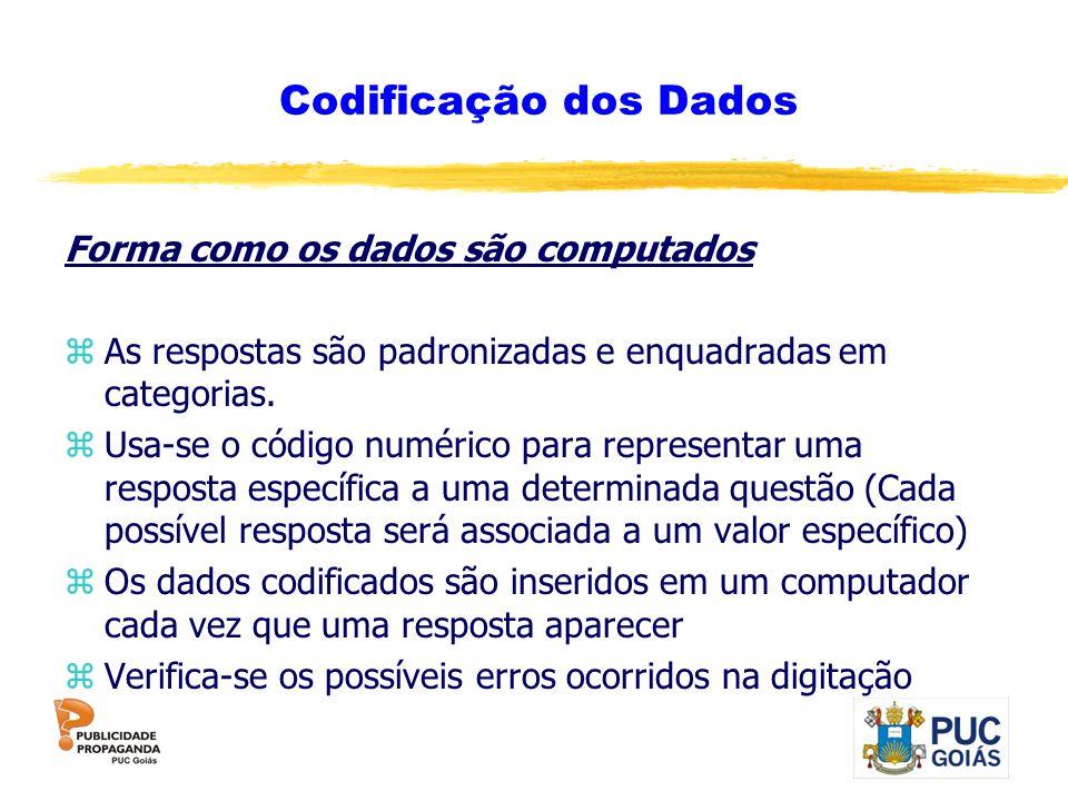 Codificação dos Dados Forma como os dados são computados