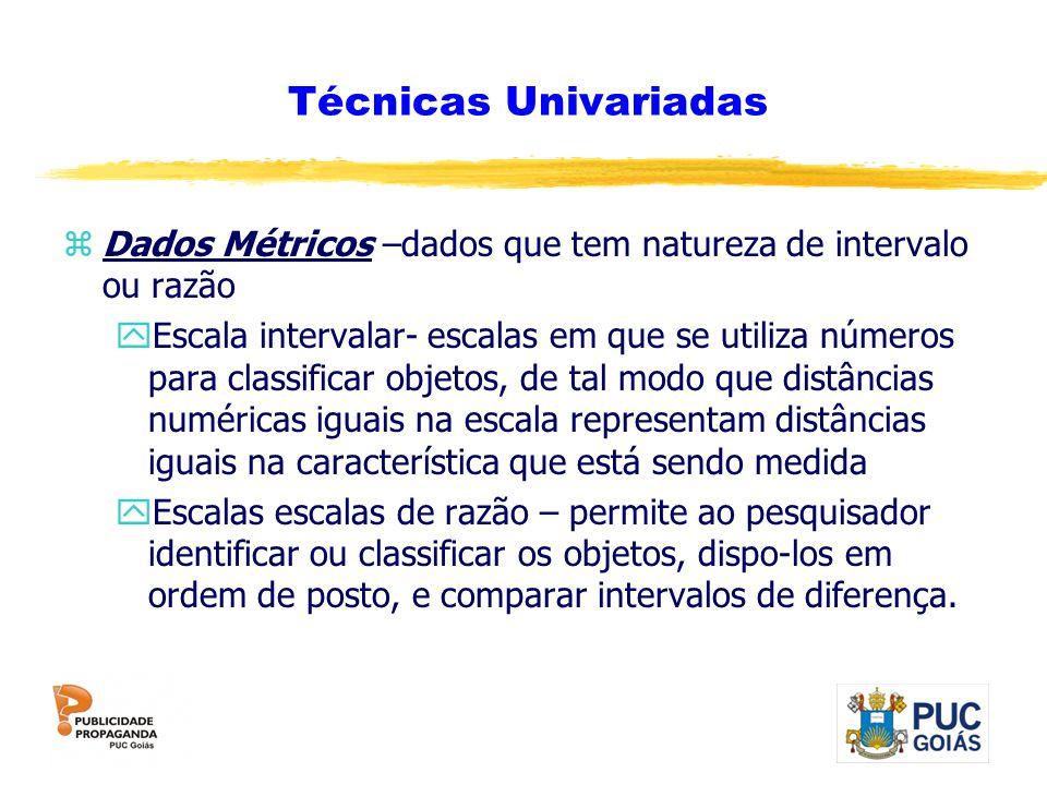 Técnicas Univariadas Dados Métricos –dados que tem natureza de intervalo ou razão.