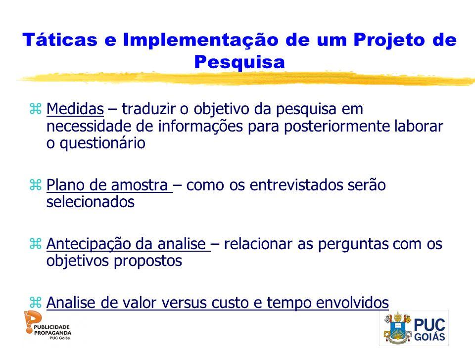 Táticas e Implementação de um Projeto de Pesquisa