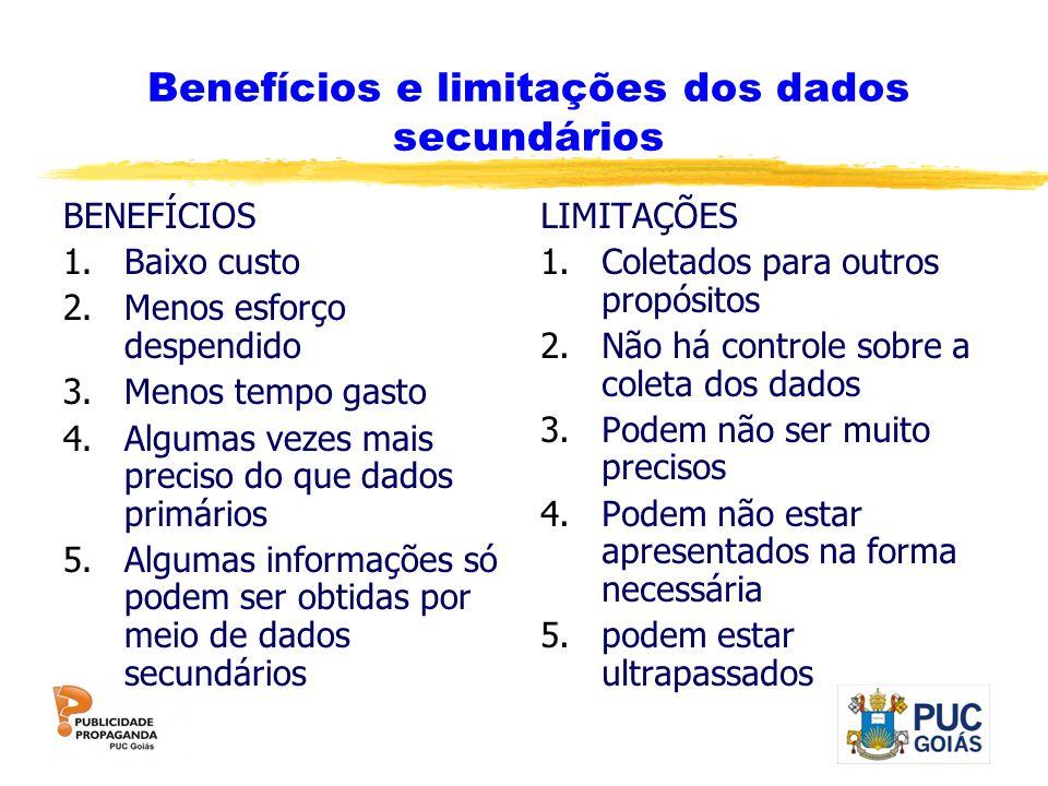 Benefícios e limitações dos dados secundários