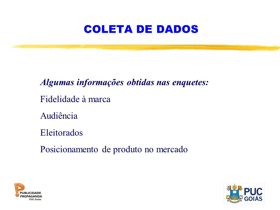 COLETA DE DADOS Algumas informações obtidas nas enquetes:
