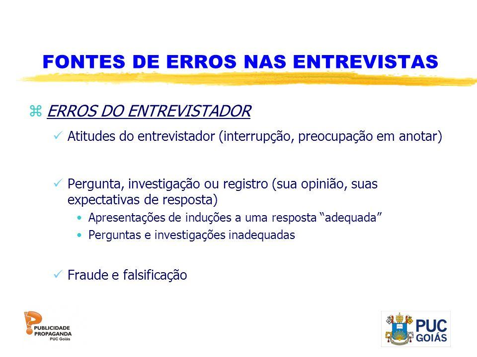 FONTES DE ERROS NAS ENTREVISTAS
