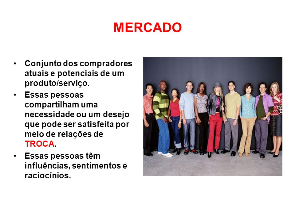 MERCADO Conjunto dos compradores atuais e potenciais de um produto/serviço.
