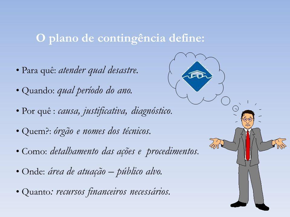 O plano de contingência define: