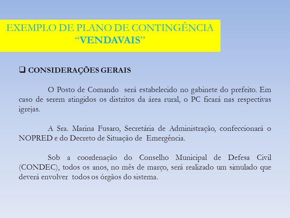 EXEMPLO DE PLANO DE CONTINGÊNCIA VENDAVAIS