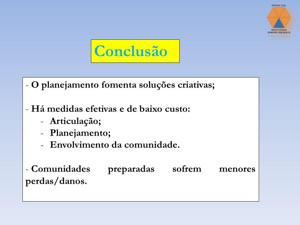 Conclusão O planejamento fomenta soluções criativas;