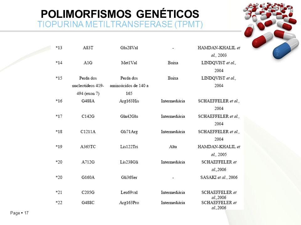 Polimorfismos Genéticos tiopurina metiltransferase (TPMt)