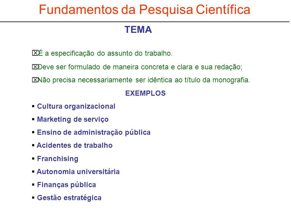 Fundamentos da Pesquisa Científica