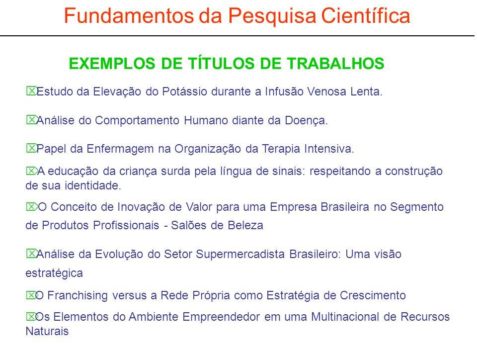 EXEMPLOS DE TÍTULOS DE TRABALHOS