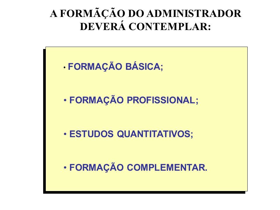 A FORMÃÇÃO DO ADMINISTRADOR DEVERÁ CONTEMPLAR: