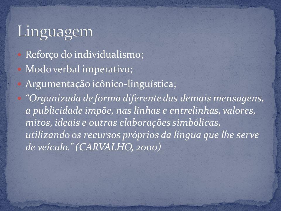 Linguagem Reforço do individualismo; Modo verbal imperativo;