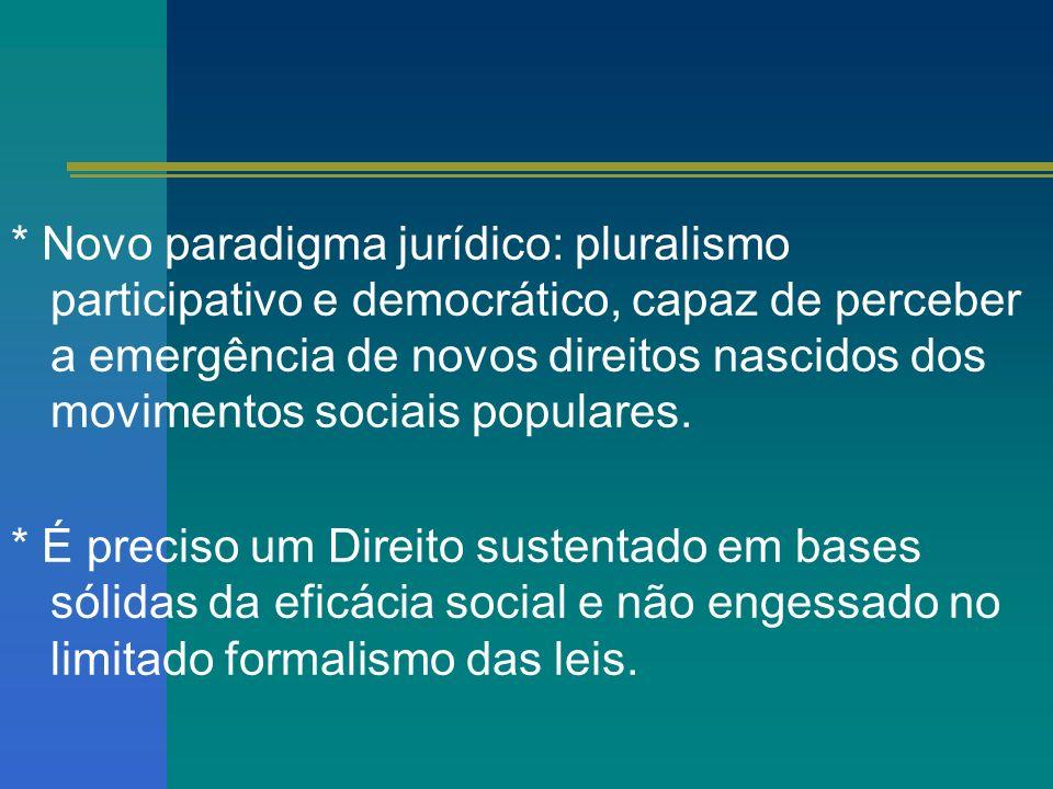 * Novo paradigma jurídico: pluralismo participativo e democrático, capaz de perceber a emergência de novos direitos nascidos dos movimentos sociais populares.