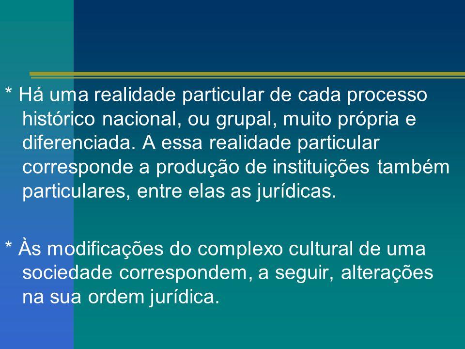 * Há uma realidade particular de cada processo histórico nacional, ou grupal, muito própria e diferenciada. A essa realidade particular corresponde a produção de instituições também particulares, entre elas as jurídicas.