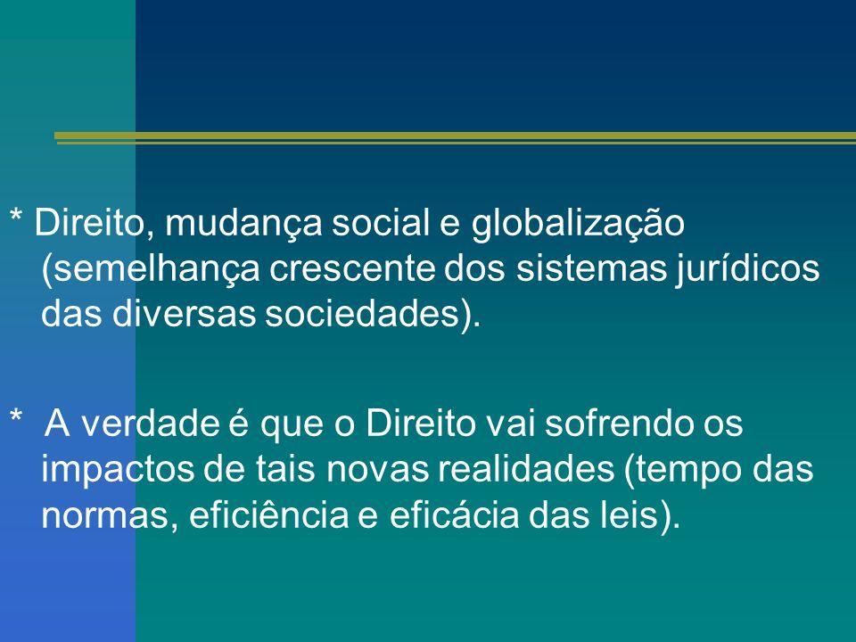 * Direito, mudança social e globalização (semelhança crescente dos sistemas jurídicos das diversas sociedades).
