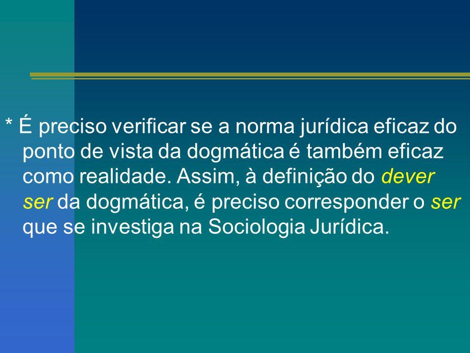 * É preciso verificar se a norma jurídica eficaz do ponto de vista da dogmática é também eficaz como realidade.