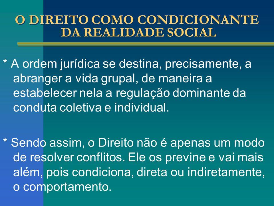 O DIREITO COMO CONDICIONANTE DA REALIDADE SOCIAL