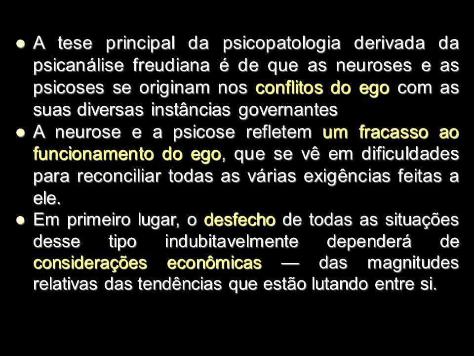 A tese principal da psicopatologia derivada da psicanálise freudiana é de que as neuroses e as psicoses se originam nos conflitos do ego com as suas diversas instâncias governantes