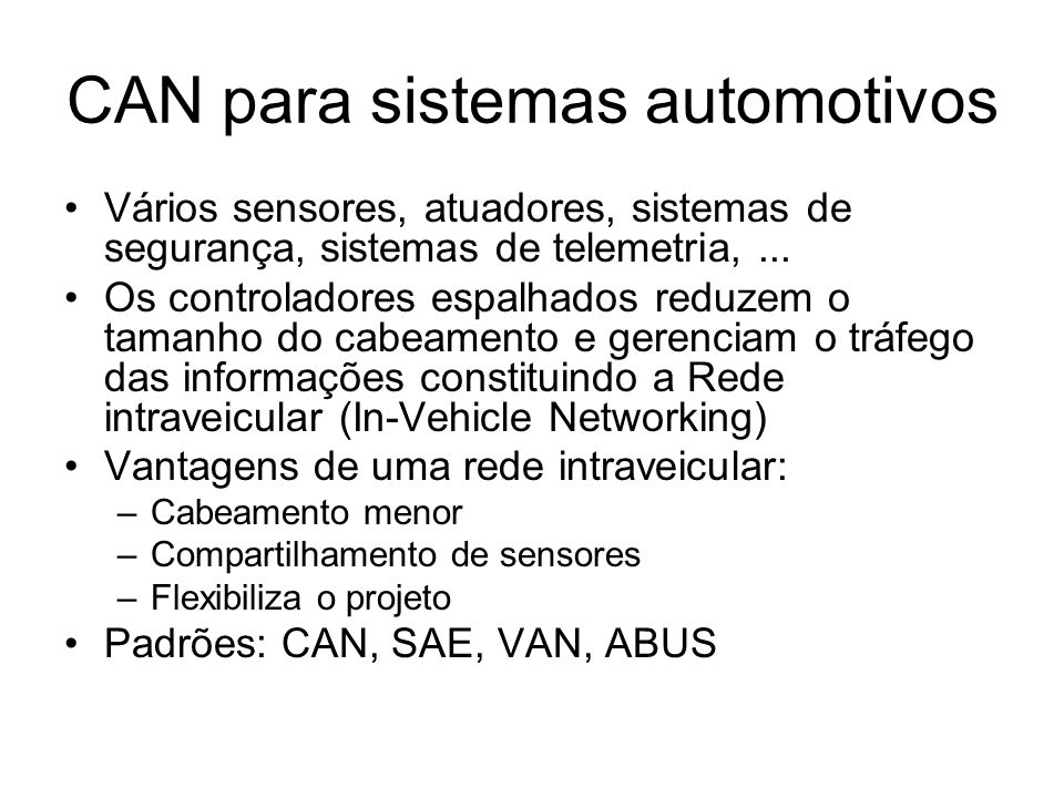 CAN para sistemas automotivos