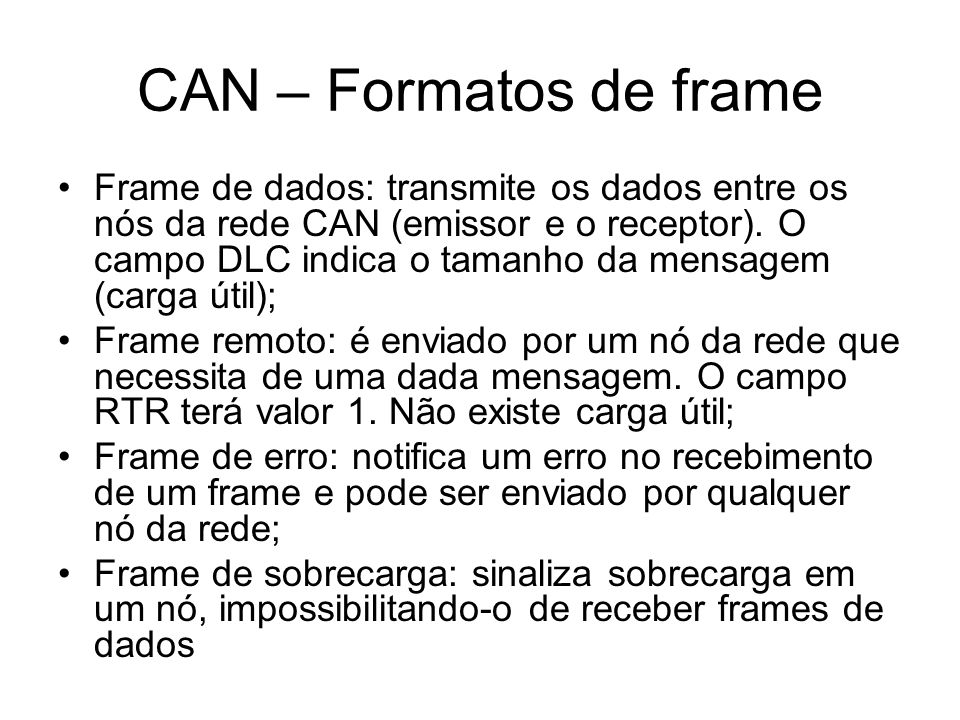 CAN – Formatos de frame