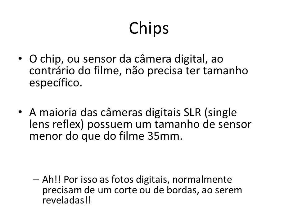 Chips O chip, ou sensor da câmera digital, ao contrário do filme, não precisa ter tamanho específico.