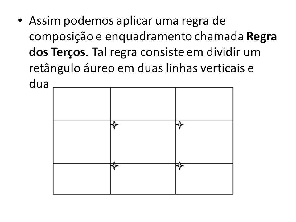 Assim podemos aplicar uma regra de composição e enquadramento chamada Regra dos Terços.