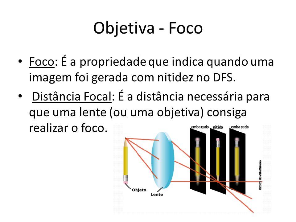 Objetiva - Foco Foco: É a propriedade que indica quando uma imagem foi gerada com nitidez no DFS.