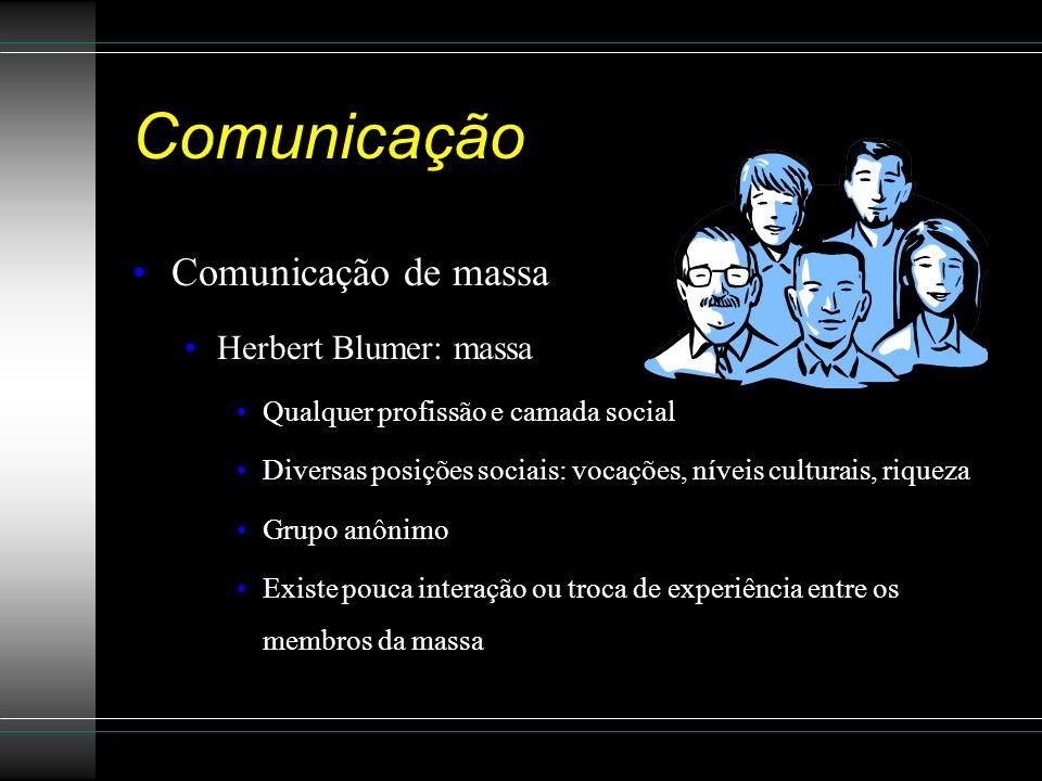 Comunicação Comunicação de massa Herbert Blumer: massa