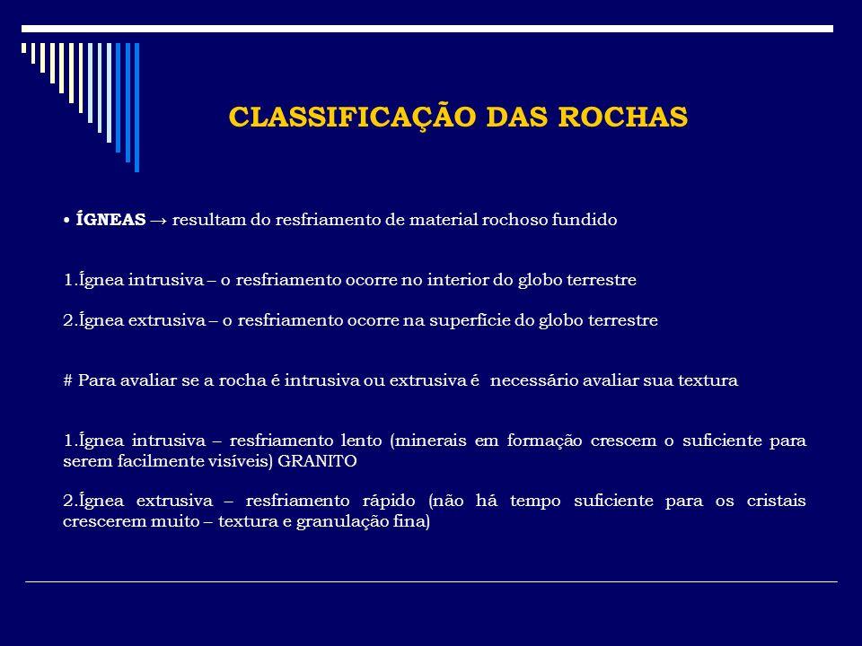 CLASSIFICAÇÃO DAS ROCHAS