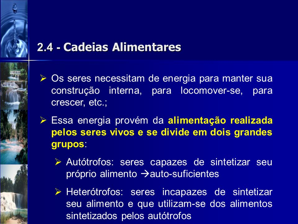 2.4 - Cadeias AlimentaresOs seres necessitam de energia para manter sua construção interna, para locomover-se, para crescer, etc.;