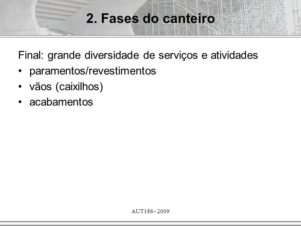 2. Fases do canteiro Final: grande diversidade de serviços e atividades. paramentos/revestimentos.