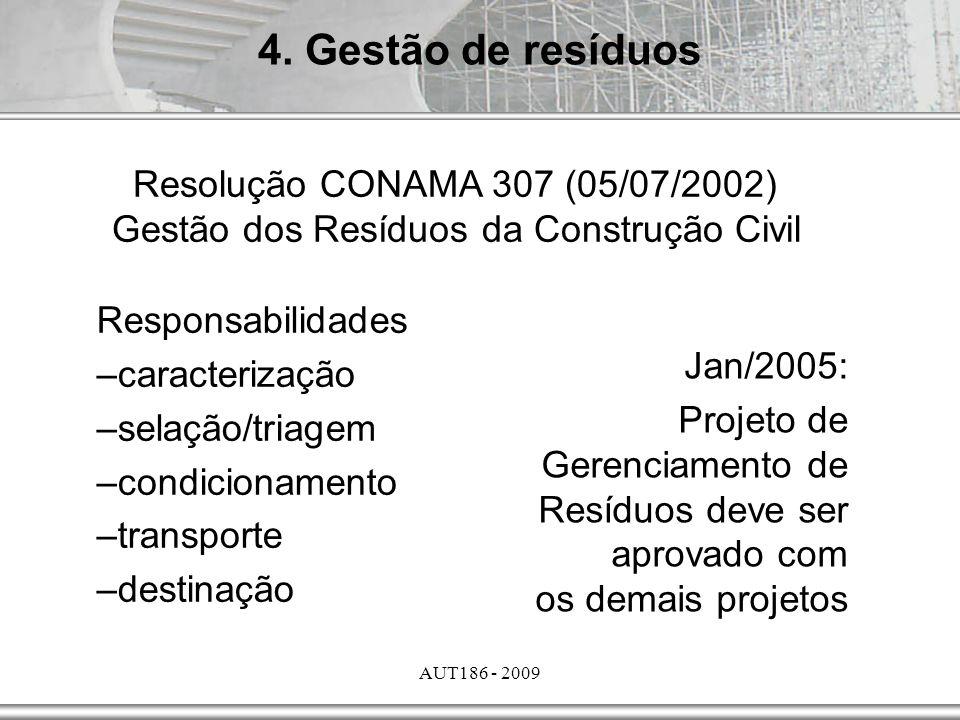 4. Gestão de resíduos Resolução CONAMA 307 (05/07/2002) Gestão dos Resíduos da Construção Civil. Responsabilidades.