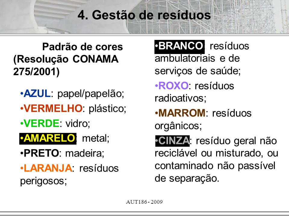 4. Gestão de resíduos Padrão de cores (Resolução CONAMA 275/2001)