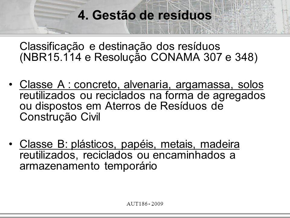 4. Gestão de resíduos Classificação e destinação dos resíduos (NBR15.114 e Resolução CONAMA 307 e 348)