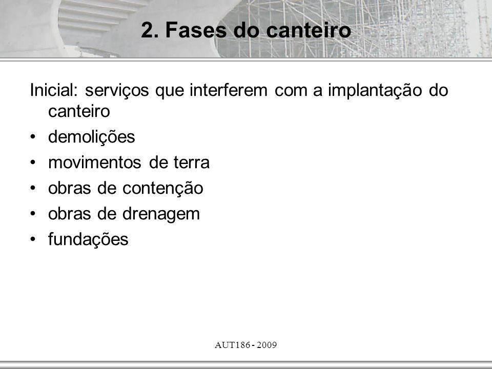 2. Fases do canteiro Inicial: serviços que interferem com a implantação do canteiro. demolições. movimentos de terra.