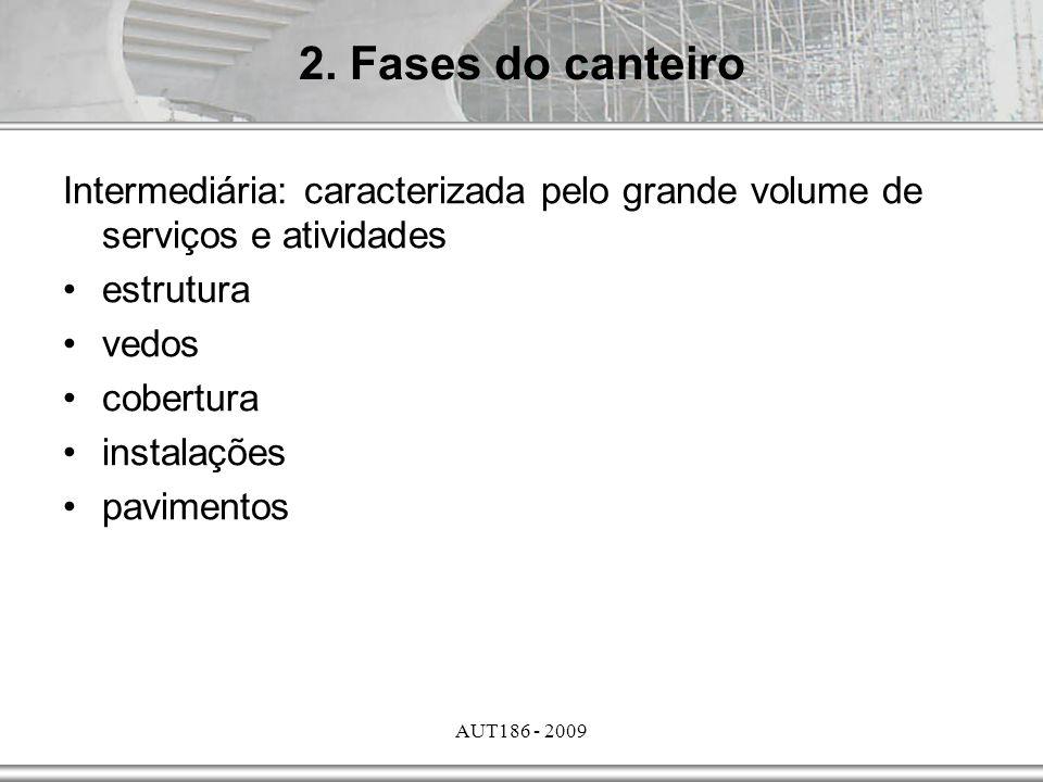 2. Fases do canteiro Intermediária: caracterizada pelo grande volume de serviços e atividades. estrutura.