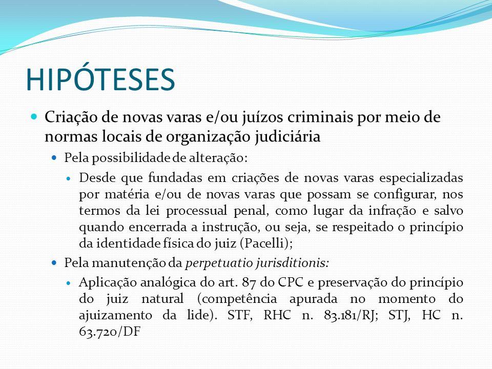 HIPÓTESES Criação de novas varas e/ou juízos criminais por meio de normas locais de organização judiciária.