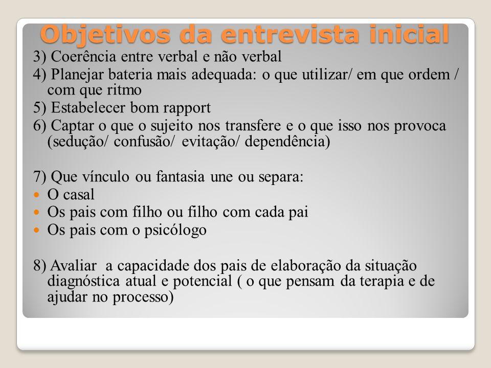 Objetivos da entrevista inicial